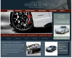 Twin Cities Luxury Auto New Website Screenshot